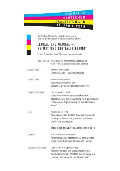 Ablauf Kongress Deutscher Lokalzeitungen