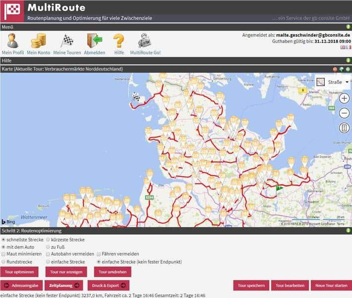 Auch bei sehr vielen Haltepunkten findet MultiRoute die optimale Route nun rasend schnell