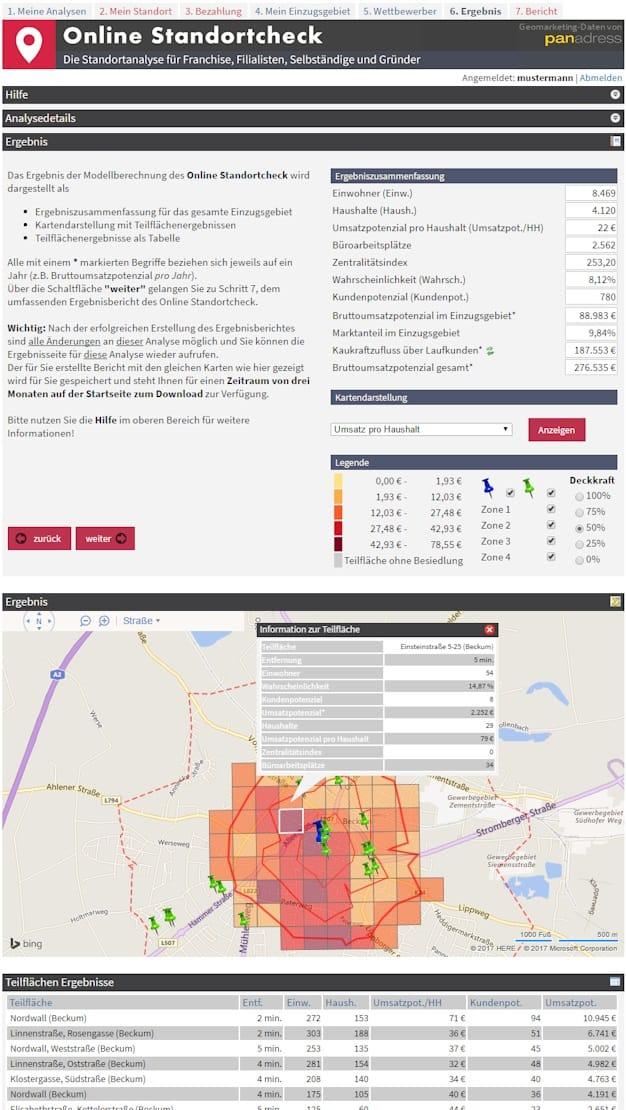 Standortanalyse-Beispiel mit dem Online Standortcheck