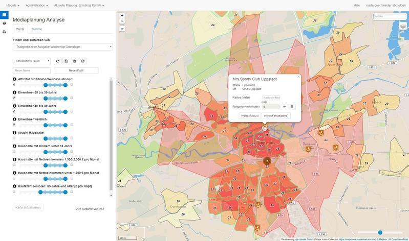 Karte Zielgruppenanalyse Trägerbezirke