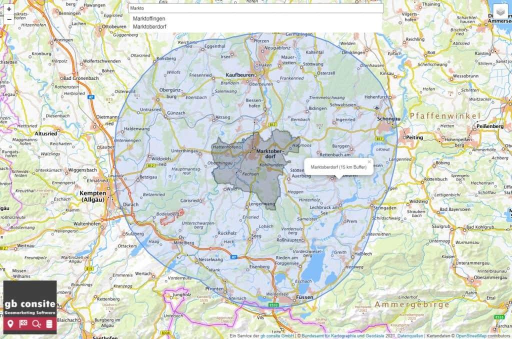 7-Tage-Inzidenz über 200? Einfach den 15 km Bewegungsradius per Ortssuche oder Klick ermitteln.